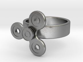 Fidget Spinner Ring in Natural Silver (Interlocking Parts): 4 / 46.5