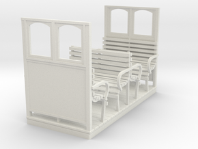 O9 Open Coach, 2 row, end screens in White Natural Versatile Plastic