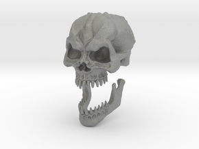 Demon Skull v6 -28mm tall. in Gray Professional Plastic