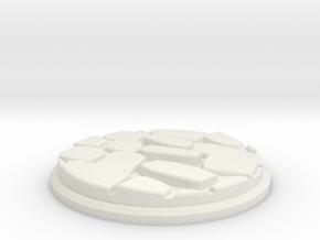 Uneven Cobblestone Miniature Base Plate (50mm) in White Natural Versatile Plastic