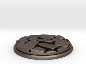 Uneven Cobblestone Miniature Base Plate (50mm) in Polished Bronzed-Silver Steel