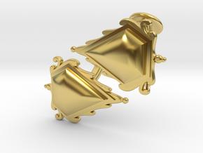Cufflinks Mox Saphire v01 in Polished Brass
