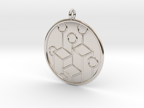 Ecology Symbol in Rhodium Plated Brass