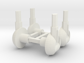 Set of Four 5mm Laser Turrets in White Natural Versatile Plastic