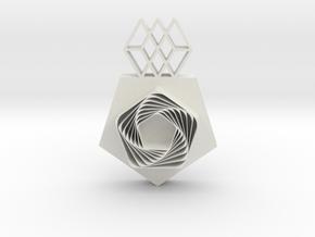 Pentagon Pendant in White Premium Versatile Plastic
