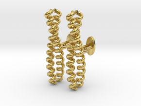 Dimeric coiled-coil cufflinks in Polished Brass
