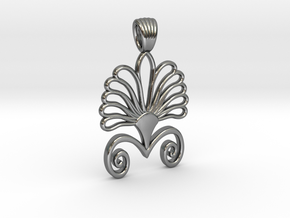Art deco flower palm [pendant] in Polished Silver