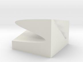 Catastrophe cusp model 10x10cm in White Natural Versatile Plastic