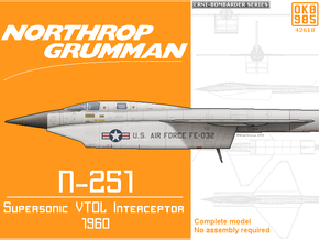 Northrop Grumman N-251 Supersonic VTOL Interceptor in Black Natural Versatile Plastic: 1:144