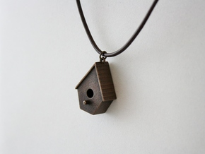 Birdhouse Pendant in Polished Bronze Steel