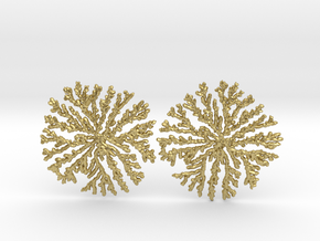 SNOWFLAKE Brass Silver Earrings in Natural Brass