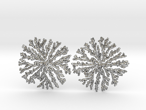 SNOWFLAKE Brass Silver Earrings in Natural Silver