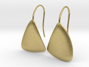 Leaf092 Earrings in Natural Brass