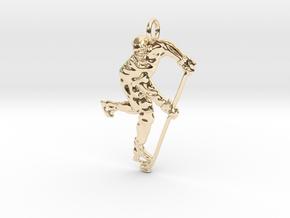 Ice Hockey Skull Pendant. in 14K Yellow Gold