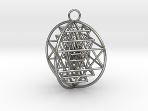 """3D Sri Yantra 4 Sided Optimal 2"""" in Natural Silver"""