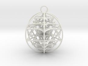 "3D Sri Yantra 6 Sided Optimal 2"" Pendant in White Natural Versatile Plastic"