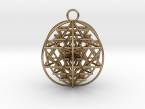 "3D Sri Yantra 6 Sided Optimal 2"" Pendant in Polished Gold Steel"