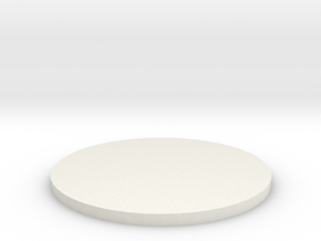 50mm Circular Miniature Base Plate in White Natural Versatile Plastic