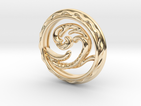 Wave Pendant in 14k Gold Plated Brass