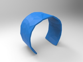 Cuff Faceted 58mm  in Blue Strong & Flexible Polished