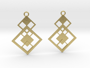 Geometrical earrings no.7 in Natural Brass: Small