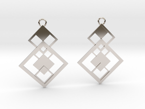 Geometrical earrings no.7 in Rhodium Plated Brass: Small
