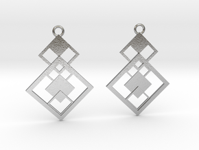 Geometrical earrings no.7 in Natural Silver: Small