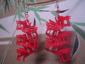 torii gate spiral earrings in Red Processed Versatile Plastic