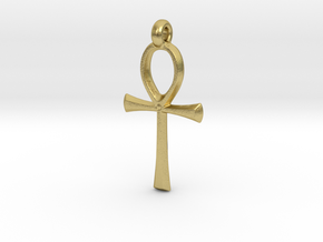 Ankh with hook in Natural Brass