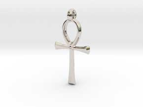 Ankh with hook in Rhodium Plated Brass