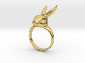 Rabbit ring in Polished Brass