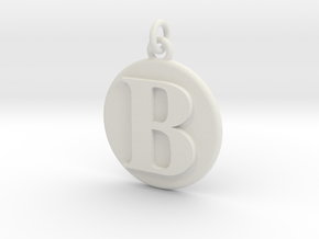 B Pendant in White Natural Versatile Plastic