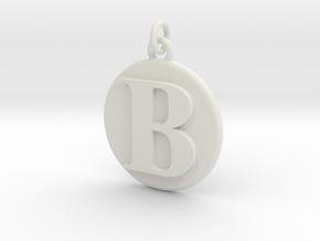 B Pendant in White Natural Versatile Plastic