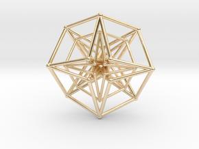 Double Hypercube pendant 30mm in 14k Gold Plated Brass