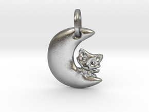 Crescent Moon and Cat Pendant in Natural Silver