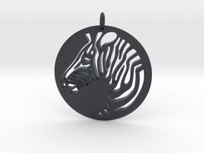 Zebra Round  Pendant  in Black Professional Plastic