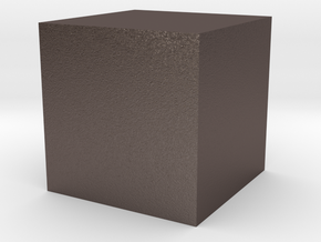 3D printed Sample Model Cube 1.95cm in Polished Bronzed-Silver Steel