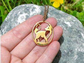 Fox Pendant in Polished Bronze