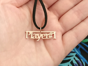 Player 1 gamers pendant necklace in 14k Rose Gold Plated Brass
