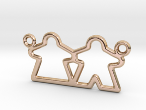 Meeple pendant necklace gamer gift in 14k Rose Gold Plated Brass