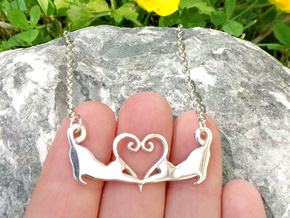 Double cat heart pendant in Polished Silver