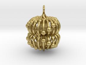Double Torus Electromagnetic Field 23mm Pendant bi in Natural Brass: Medium