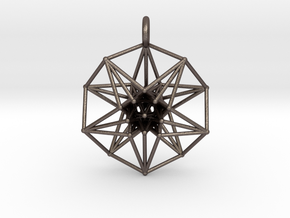 5d hypercube toroidal projection -37mm  in Polished Bronzed-Silver Steel: Small