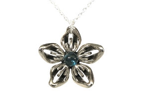 Topaz Transgender Flower Necklace in Polished Bronzed-Silver Steel