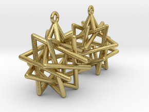 Tetrahedron Compound Earrings in Natural Brass
