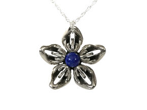 Lapis Lazuli Transgender Flower Necklace in Polished Bronzed-Silver Steel