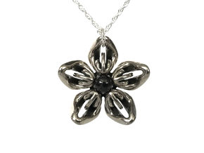 Black Onyx Transgender Flower Necklace in Polished Bronzed-Silver Steel