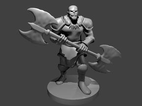 Half-Orc Male Barbarian with Double Axe in Smooth Fine Detail Plastic