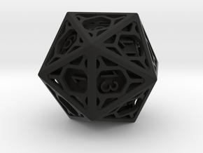D20 Balanced - Cage die in Black Premium Versatile Plastic