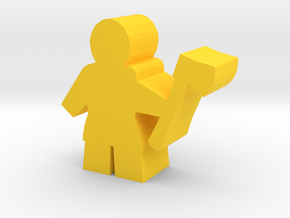 Game Piece, Worker with axe in Yellow Processed Versatile Plastic